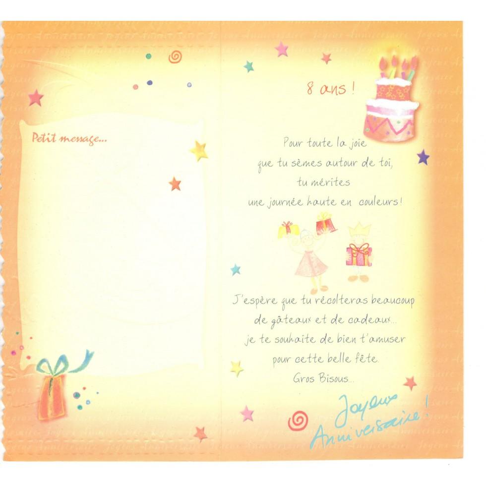 Carte 8 Ans Joyeux Anniversaire Carte Age Joyeux Anniversaire Fete Souhaits