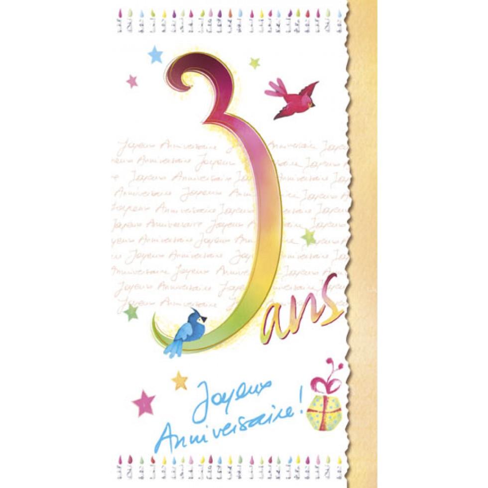 Carte 3 Ans Joyeux Anniversaire Carte Age Joyeux Anniversaire Fete Souhaits
