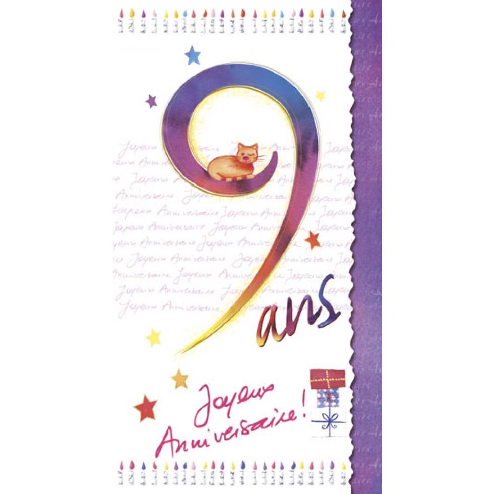 Carte 9 Ans Joyeux Anniversaire Carte Age Joyeux Anniversaire Fete Souhaits