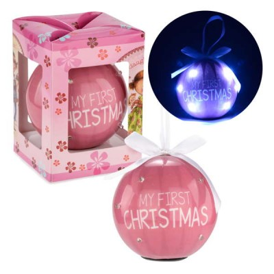 Ornement boule rose illuminé : My First Christmas